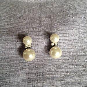 Vintage Double Pearl & Rhinestone Earrings
